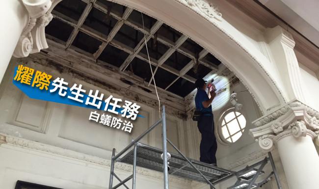 加蓋的天花板遭白蟻蛀空而坍塌